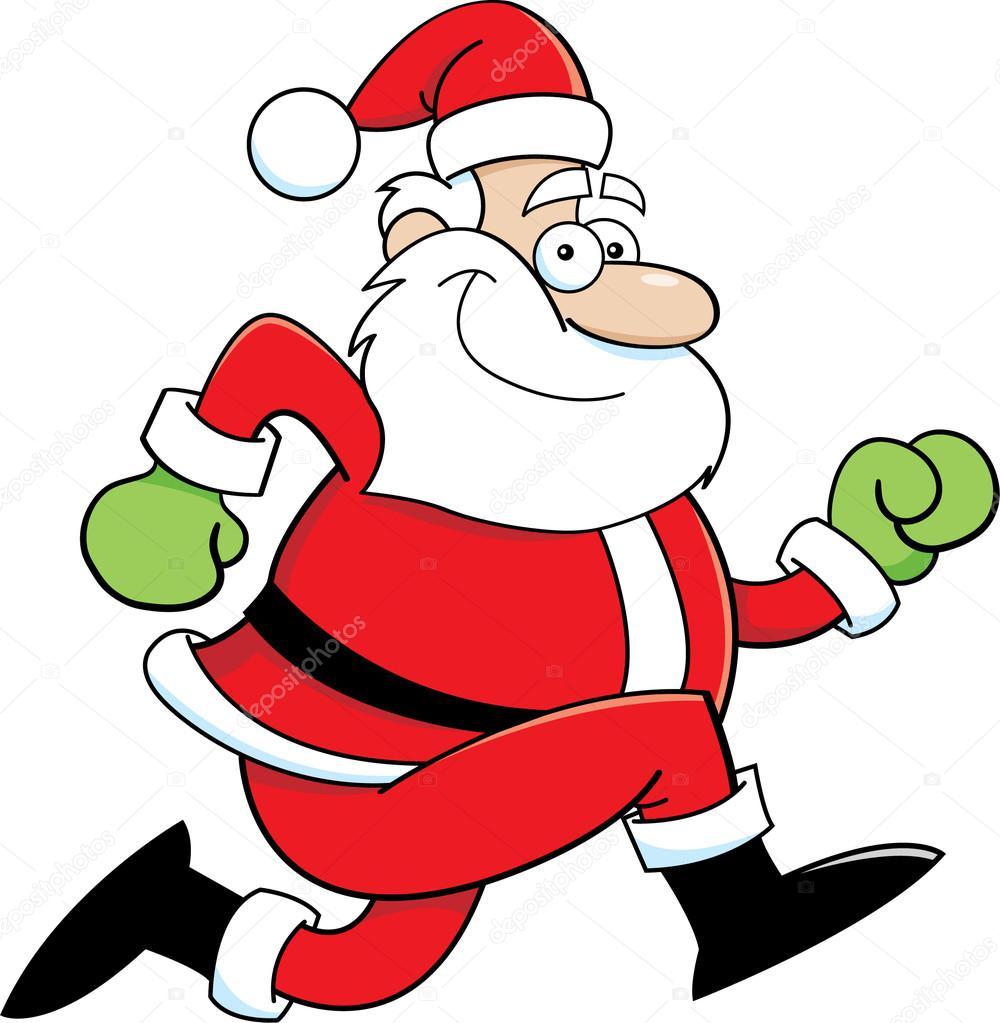 1000x1023 Cartoon Santa Claus Running Stock Vector Kenbenner