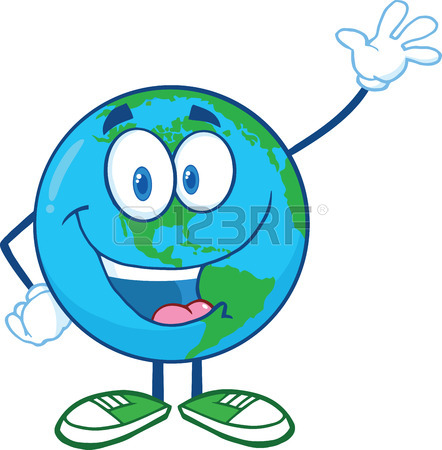 442x450 Earth Cartoon Mascot Character Showing Thumbs Up Illustration