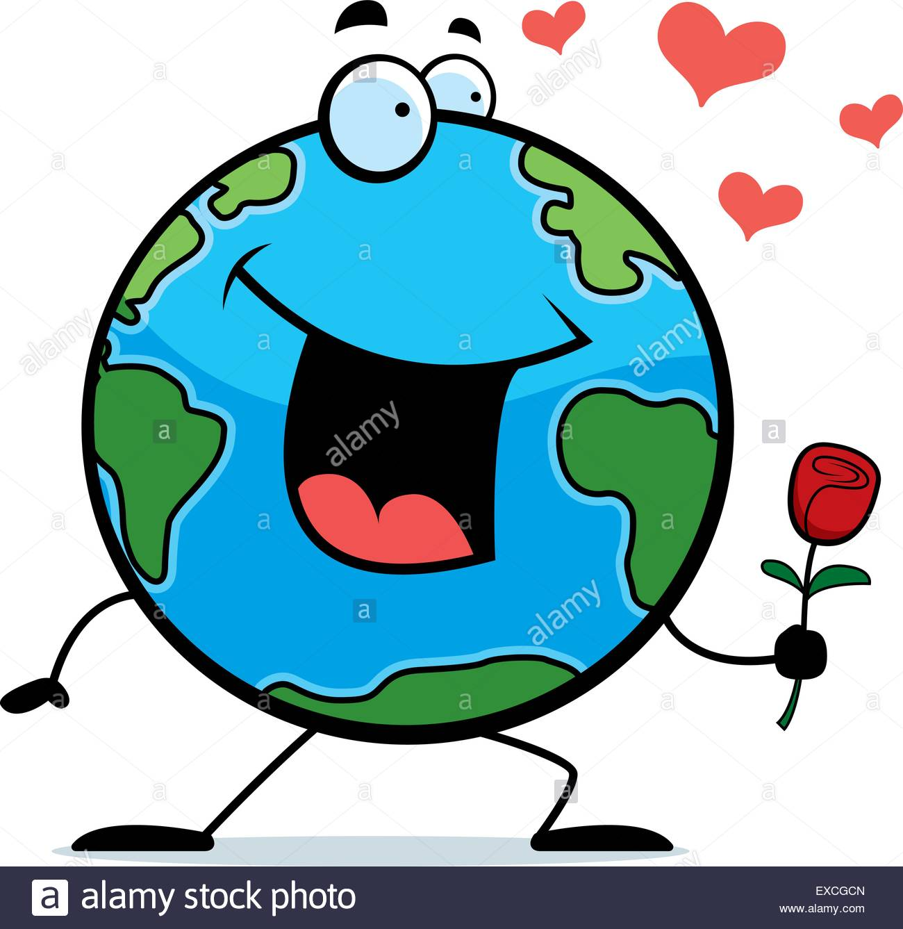 1300x1337 A Happy Cartoon Planet Earth With A Flower Stock Vector Art