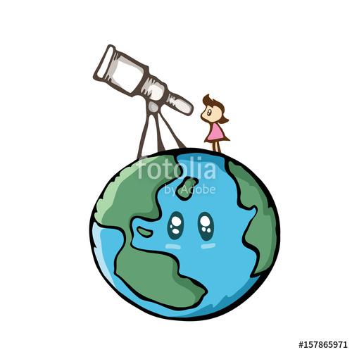 500x500 Girl Looking The Sky With Telescope On The Earth. Cute Cartoon
