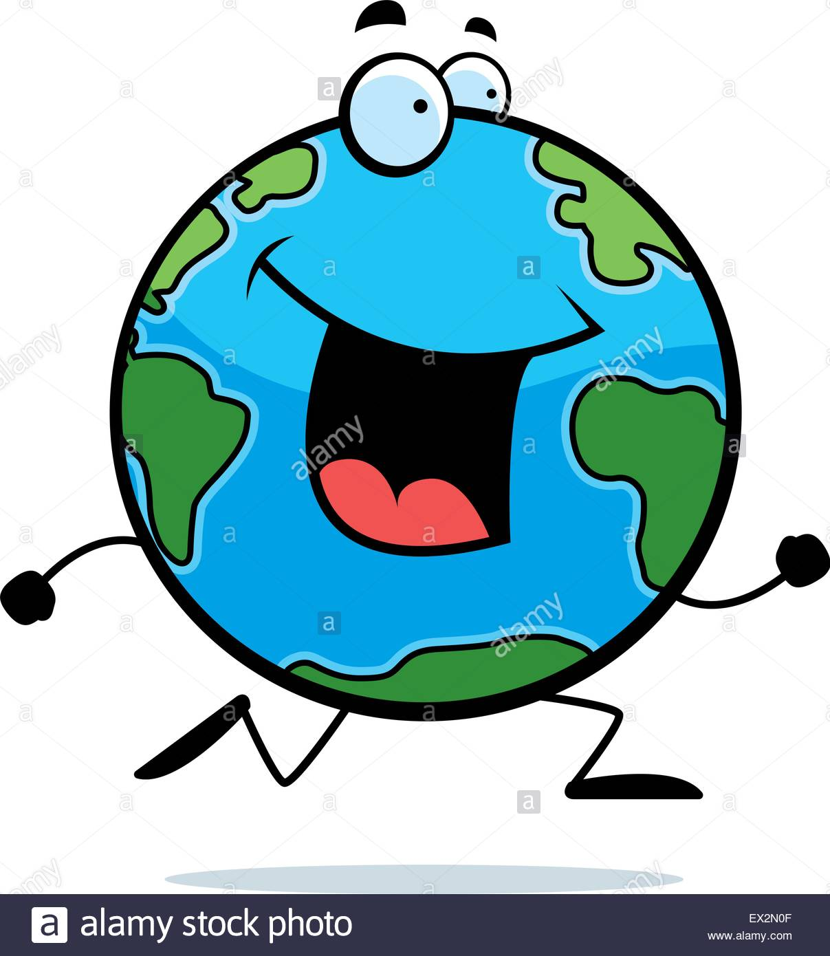 1207x1390 A Happy Cartoon Planet Earth Running And Smiling Stock Vector Art