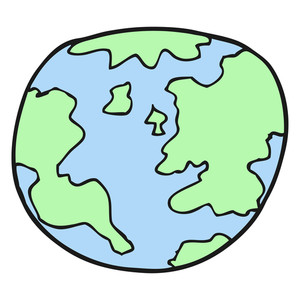 300x300 Freehand Drawn Black And White Cartoon Planet Earth Royalty Free
