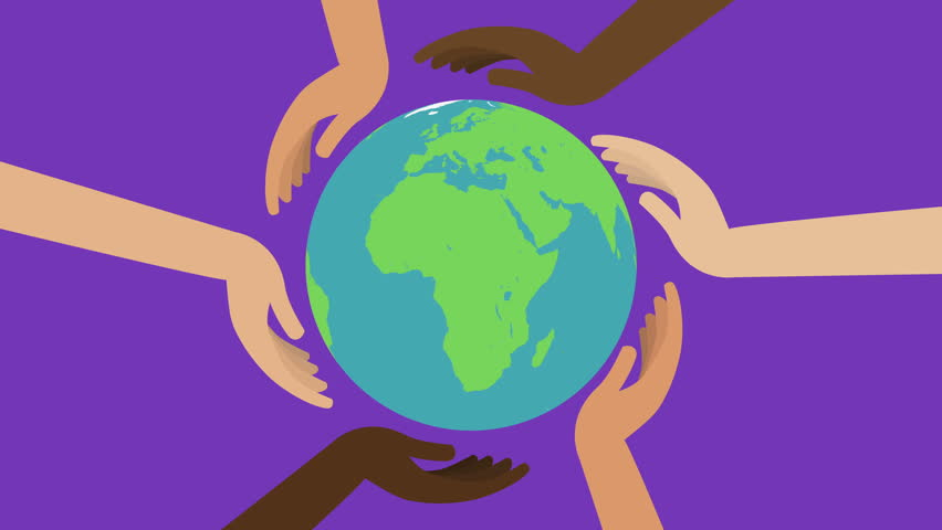 852x480 Animation Of Hands Protect The Earth Planet. Protect The Planet