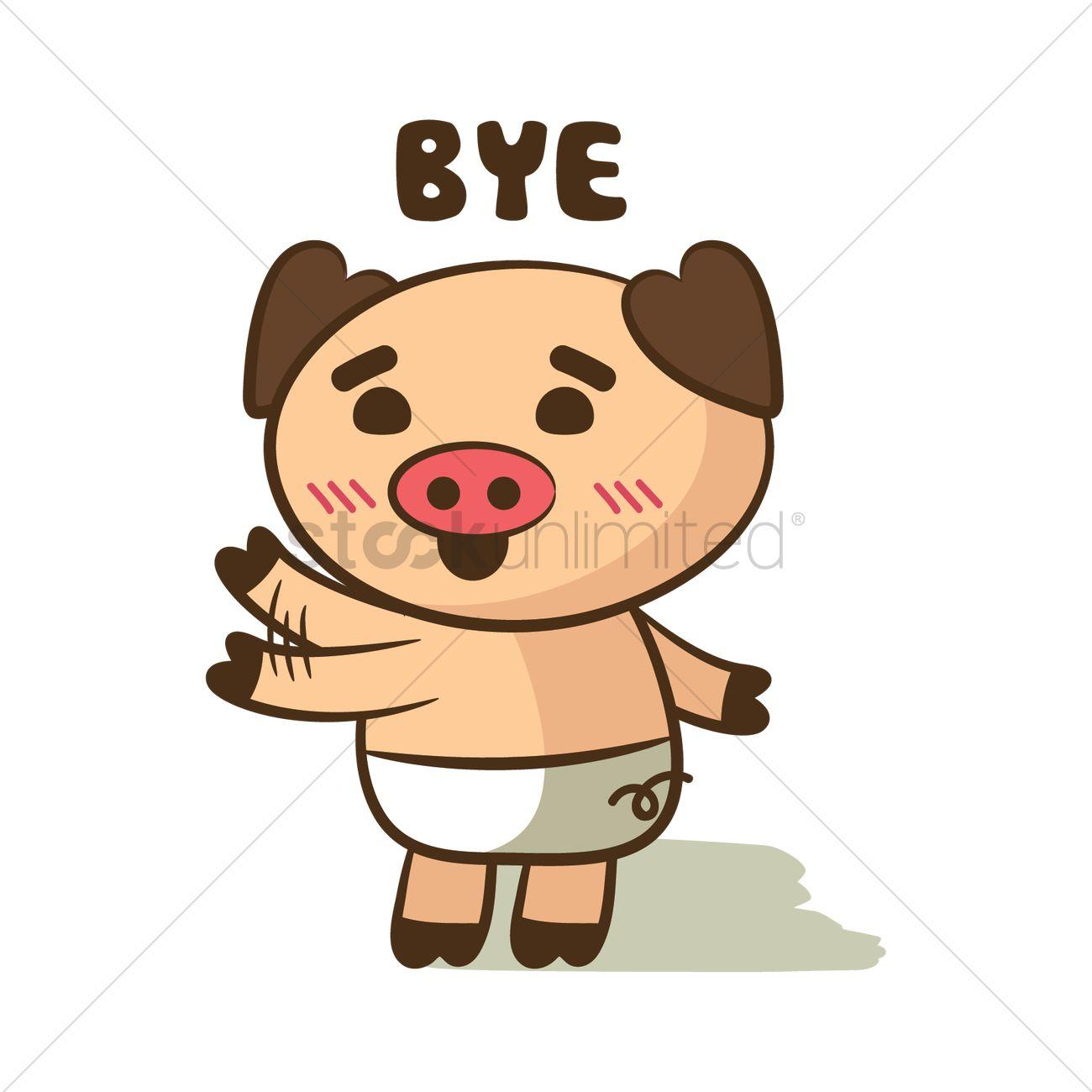 1300x1300 Cartoon Pig Waving Goodbye Vector Image