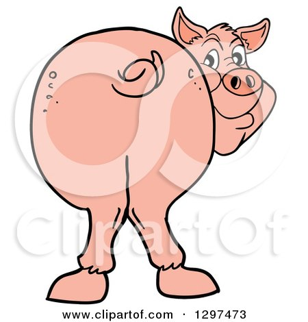 450x470 Clipart Of A Cartoon Pig Butt, With Him Smiling Back