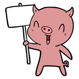 300x300 Cartoon Crying Pig With Sign Post Royalty Free Stock Image