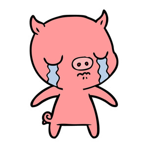 300x300 Cartoon Sitting Pig Crying Royalty Free Stock Image