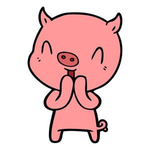 300x300 Happy Cartoon Smart Pig Royalty Free Stock Image