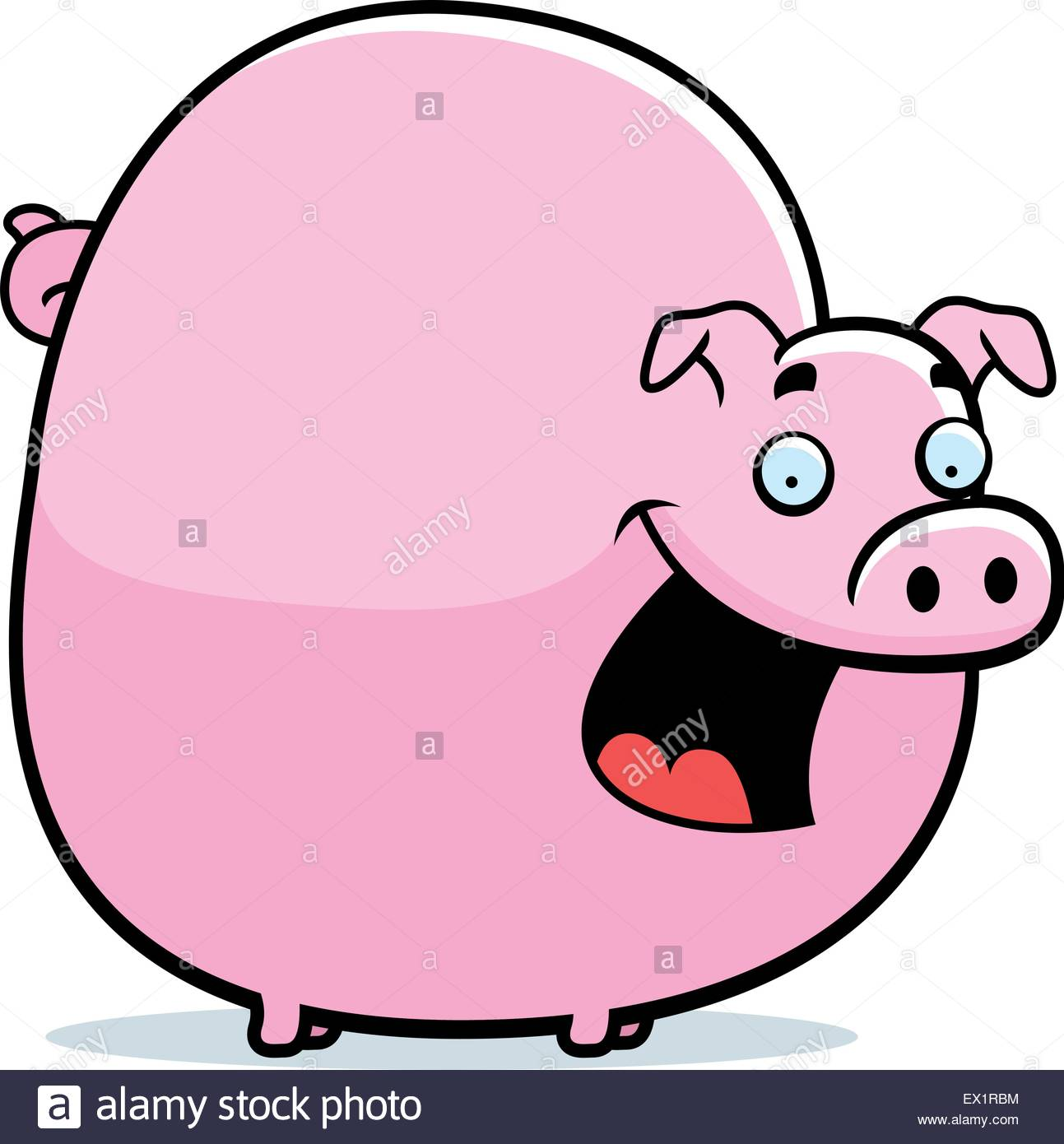 1293x1390 A Happy Cartoon Pig Standing And Smiling Stock Vector Art