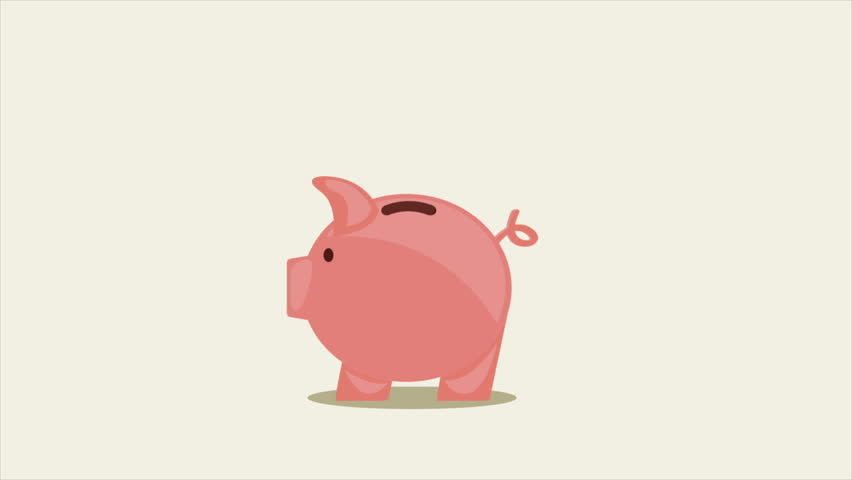 852x480 Cartoonnimation, Pig Piggy Bank For The Money, Yellow Coins,
