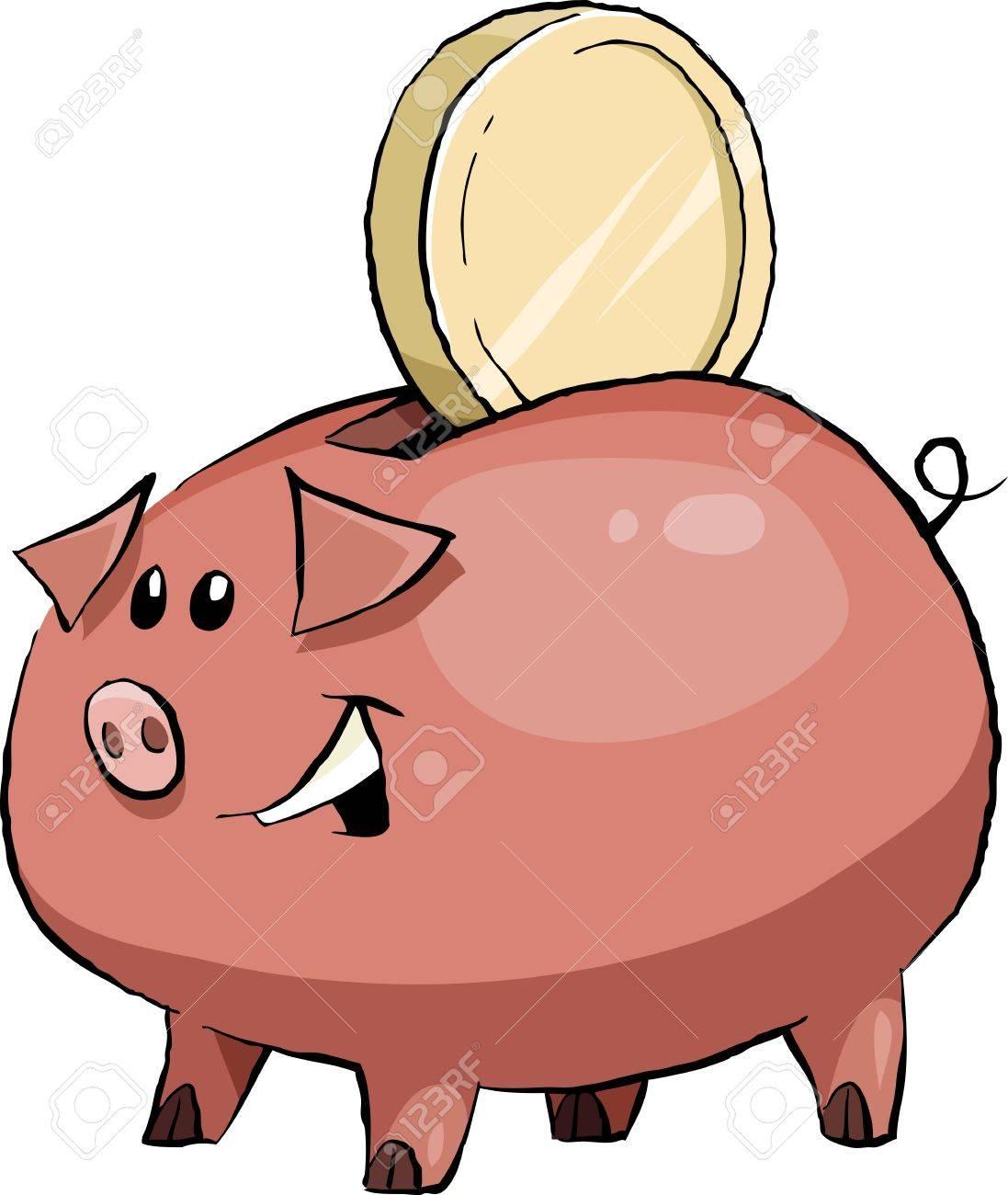 1097x1300 Cartoon Funny Pig Piggy Bank, Vector Illustration Royalty Free