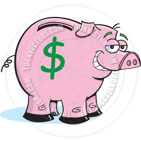 460x460 Cartoon Piggy Bank By Kenbenner Toon Vectors Eps