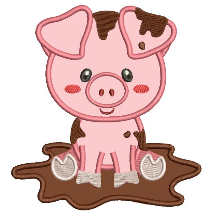 700x700 Cute Little Piggy In The Mud