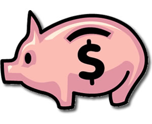 300x245 Images Cartoon Piggy Bank With Money Clipart