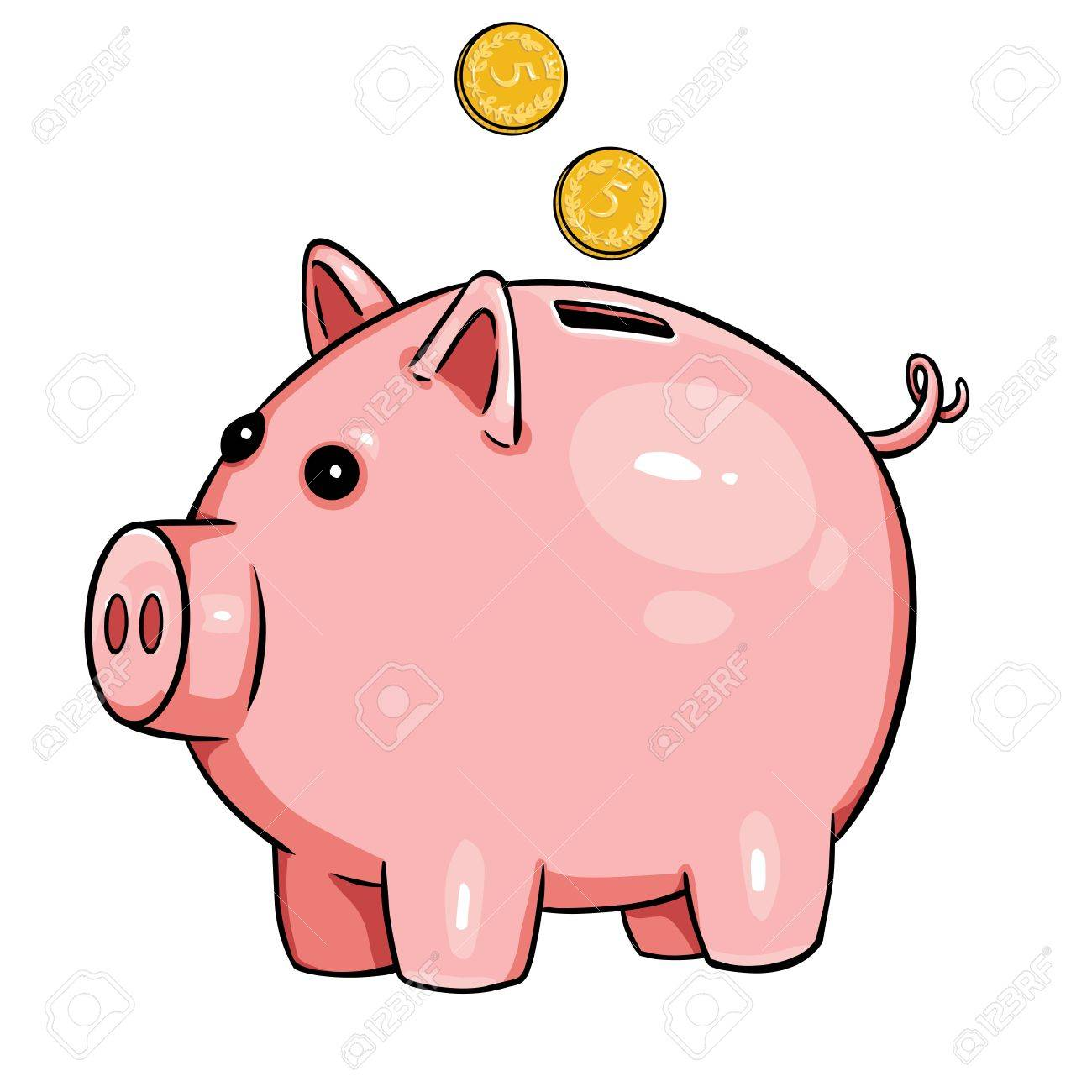 1300x1300 Vector Cartoon Piggy Bank On White Background Royalty Free