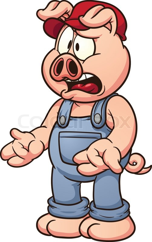 502x800 Cartoon Pig Talking. Vector Clip Art Illustration With Simple