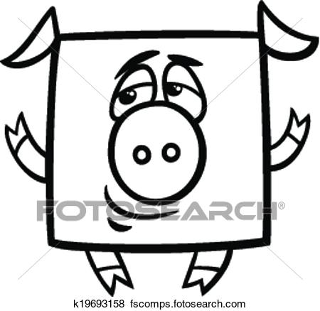 450x438 Clip Art Of Square Pig Cartoon Coloring Page K19693158