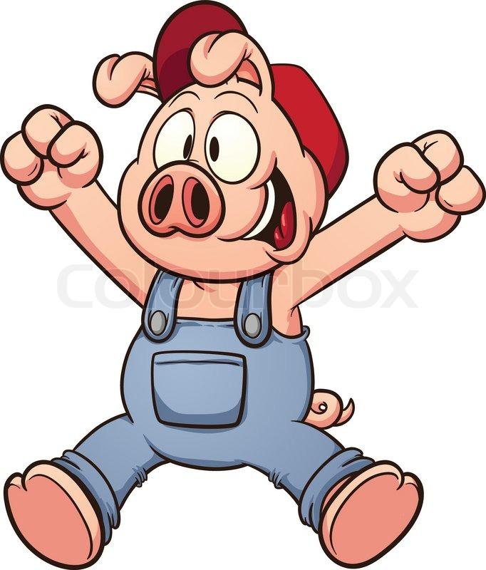 682x800 Happy Cartoon Pig Jumping. Vector Clip Art Illustration