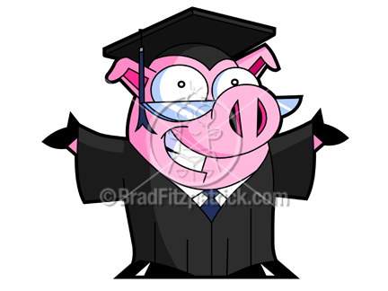 432x324 Cartoon Graduating Pig With Open Armsclip Art Royalty Free