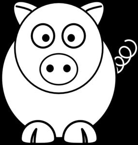 285x300 Cartoon Pig Black And White Clip Art
