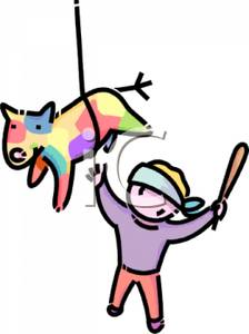 224x300 Colorful Cartoon Of A Blindfolded Boy Trying To Hit A Pinata