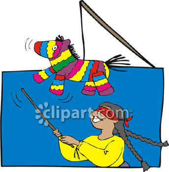 343x350 Little Girl Hitting A Pinata