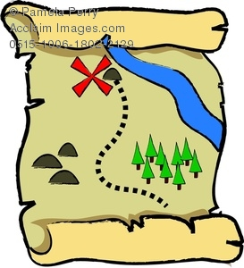 273x300 Clip Art Image Of A Cartoon Pirate's Buried Treasure Map