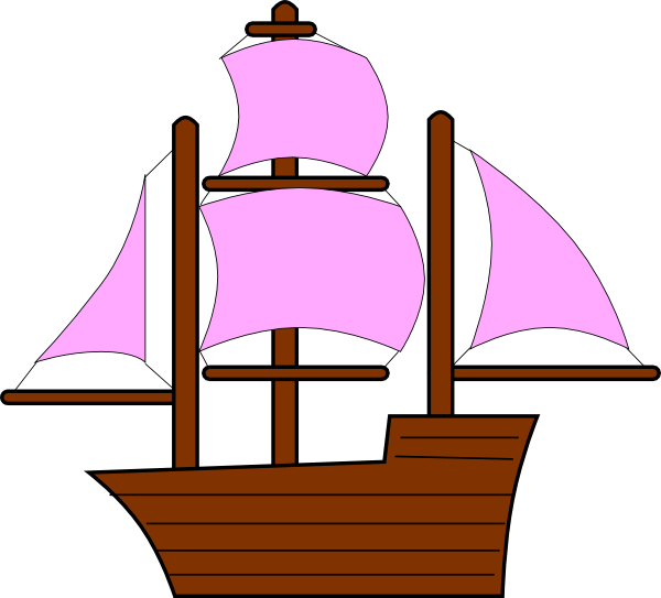600x543 Pink Pirate Ship Clip Art
