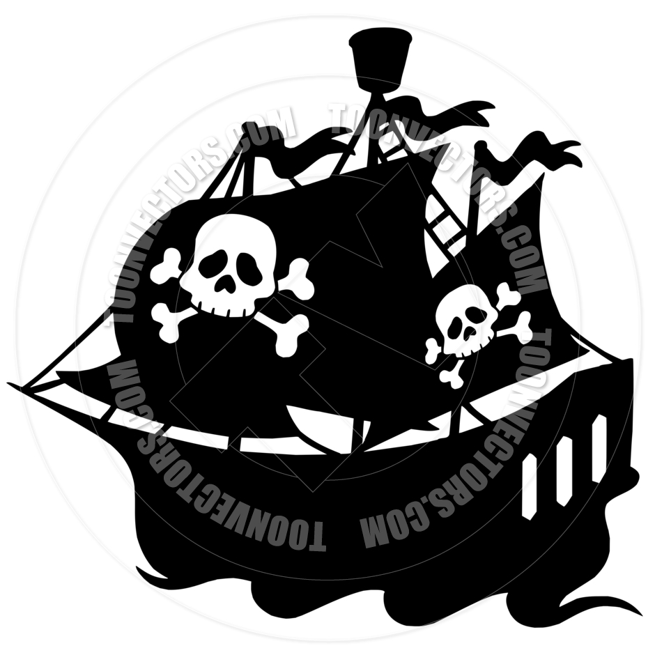 940x940 Cartoon Pirate Ship Silhouette By Clairev Toon Vectors Eps