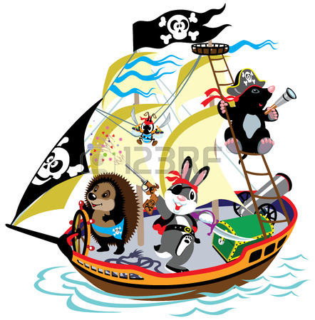 442x450 Cartoon Pirate Ship With Mole Captain And His Team,children