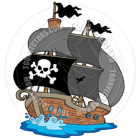 460x460 Cartoon Pirate Ship By Clairev Toon Vectors Eps