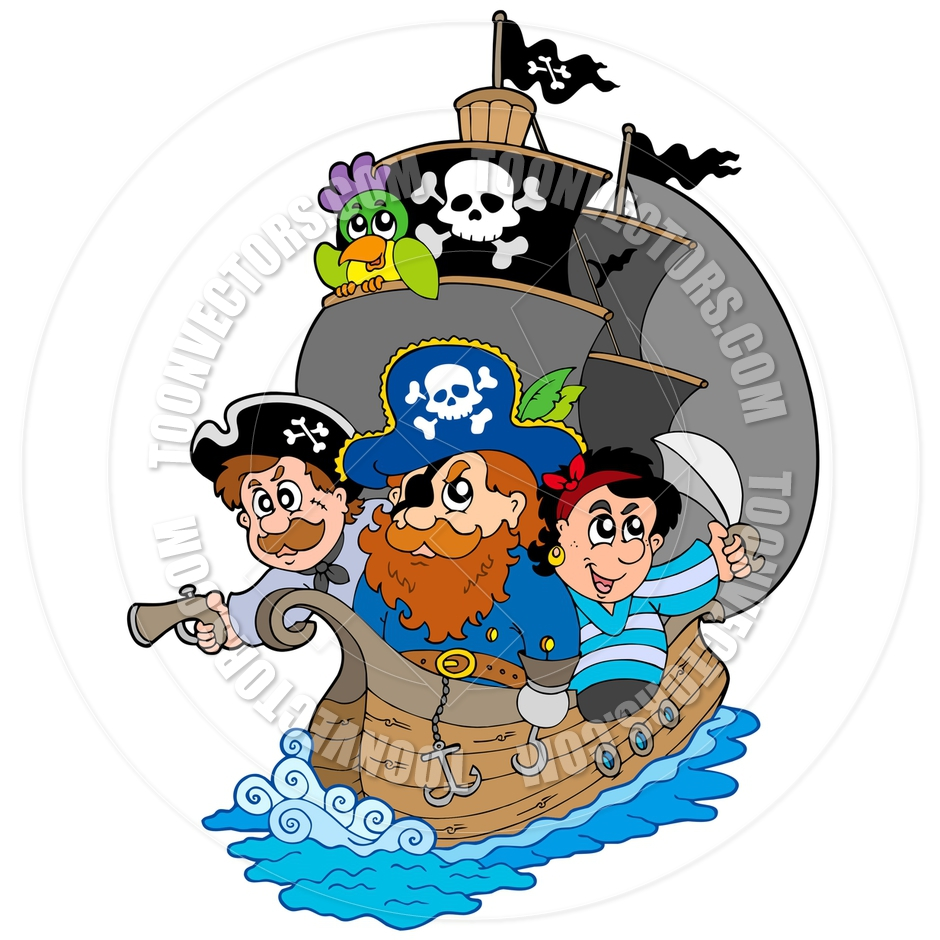 940x940 Cartoon Pirate Ship With Pirates By Clairev Toon Vectors Eps