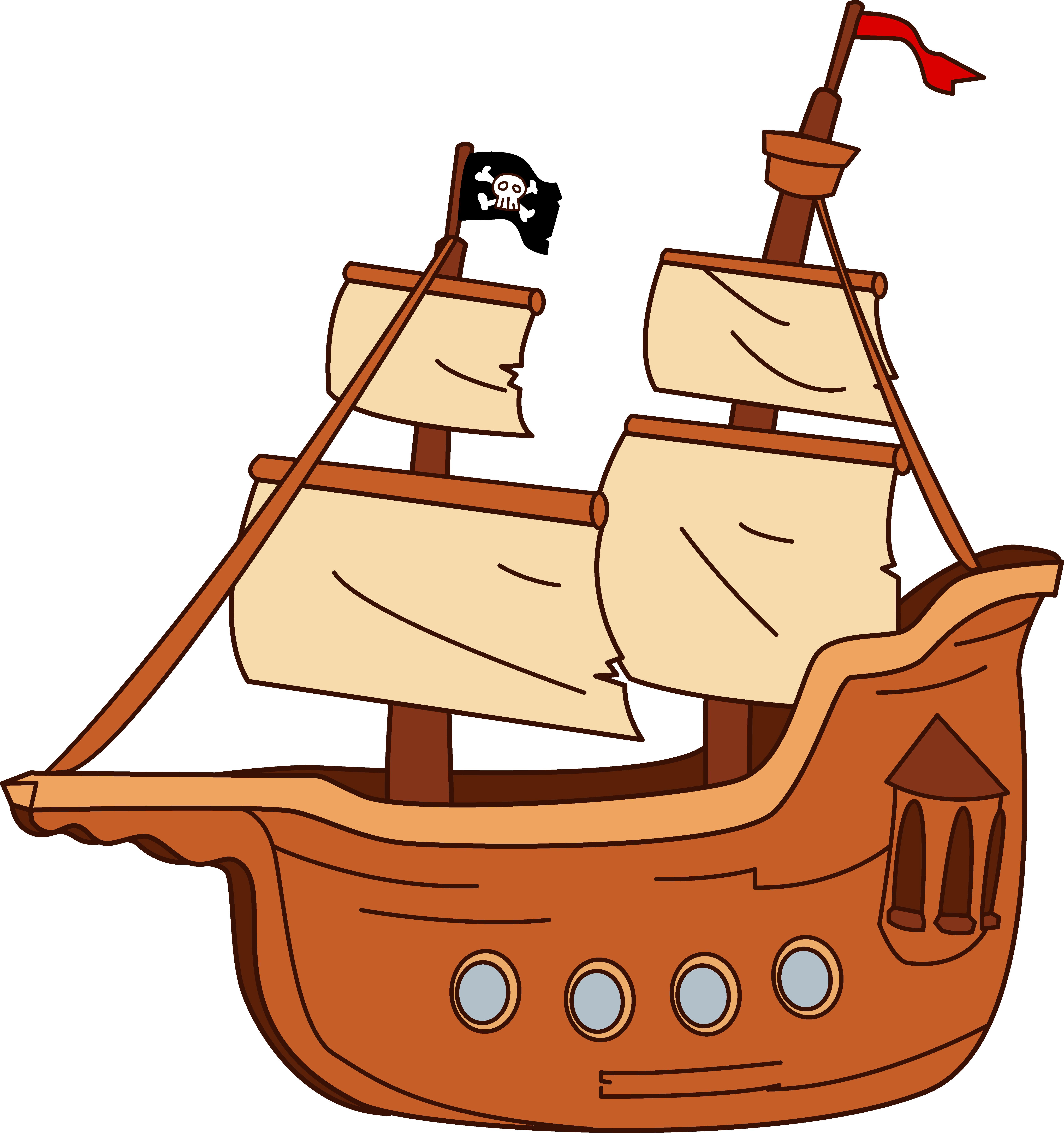 6205x6606 Cartoon Pirate Ship Png Clipart