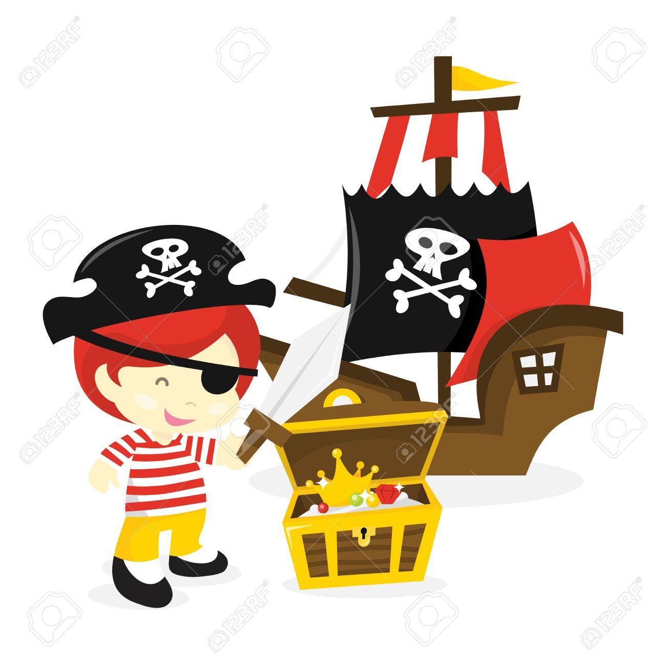 1300x1300 Cute Pirate Ship Cartoon