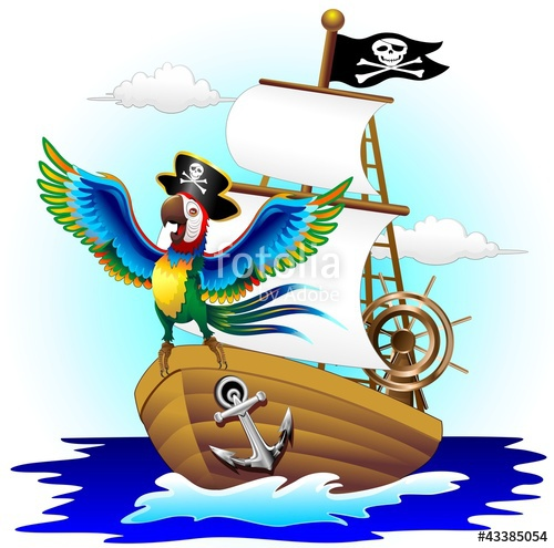500x495 Pappagallo Su Nave Pirata Cartoon Pirate Macaw Parrot On Ship