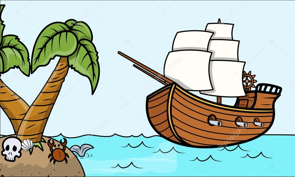 1024x616 Pirate Ship And Tropical Island