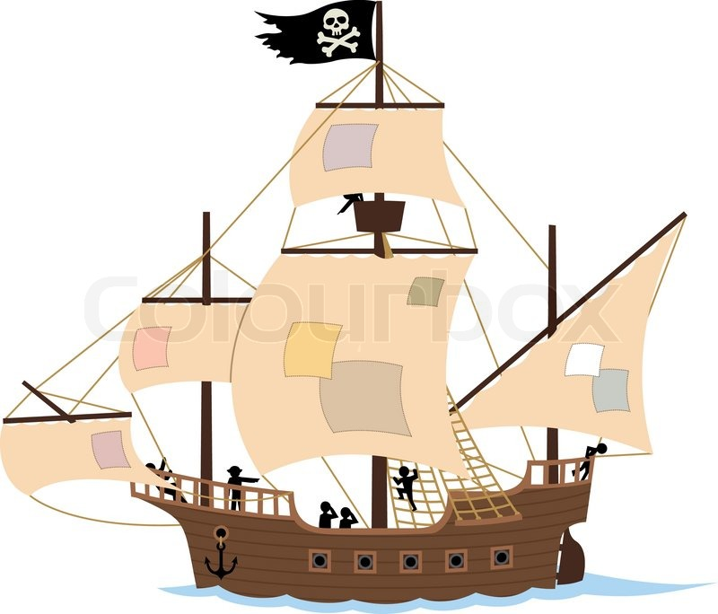 800x684 Pirate Ship On White Stock Vector Colourbox