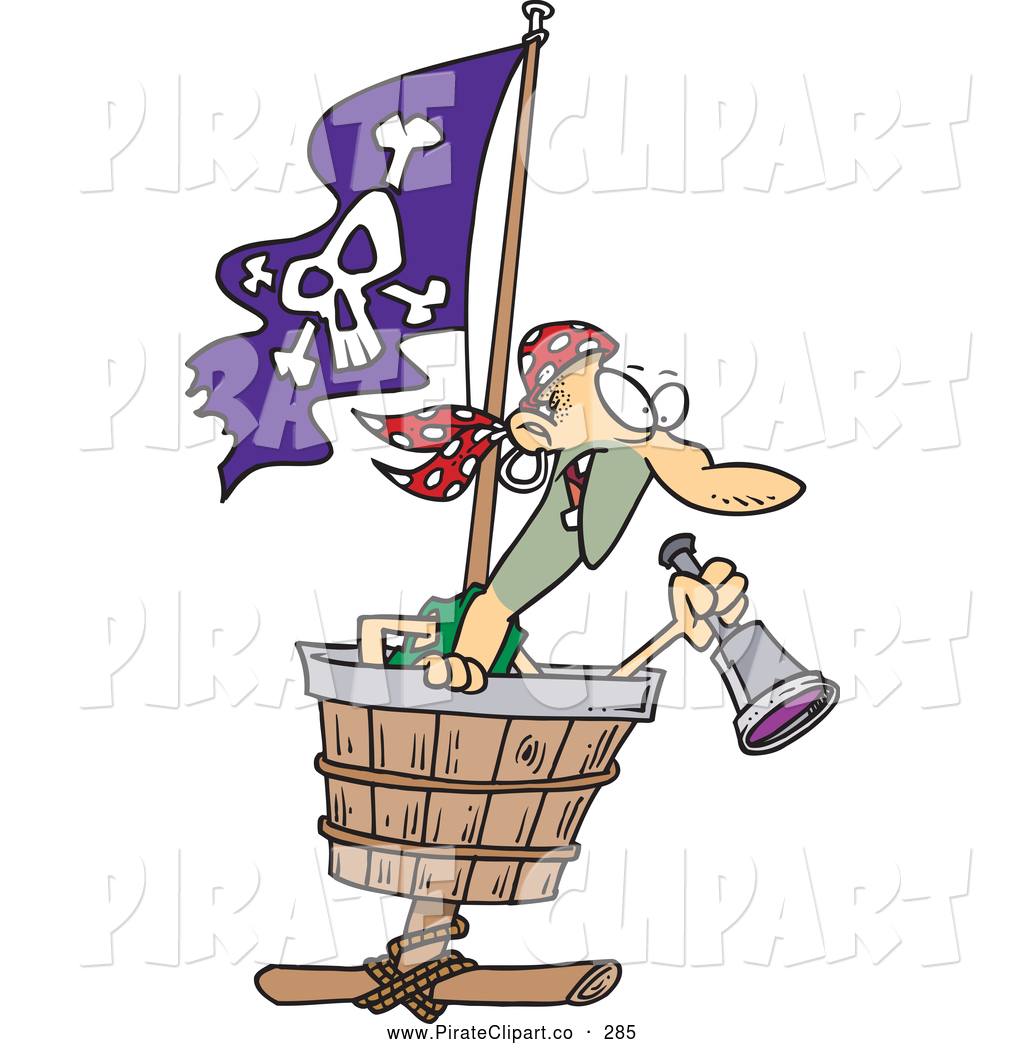 1024x1044 Vector Clip Art Of A Cartoon Pirate Looking Out In A Crows Nest By