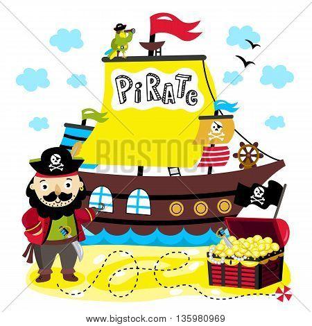 450x470 Cartoon Pirate Character. Pirate Vector Amp Photo Bigstock