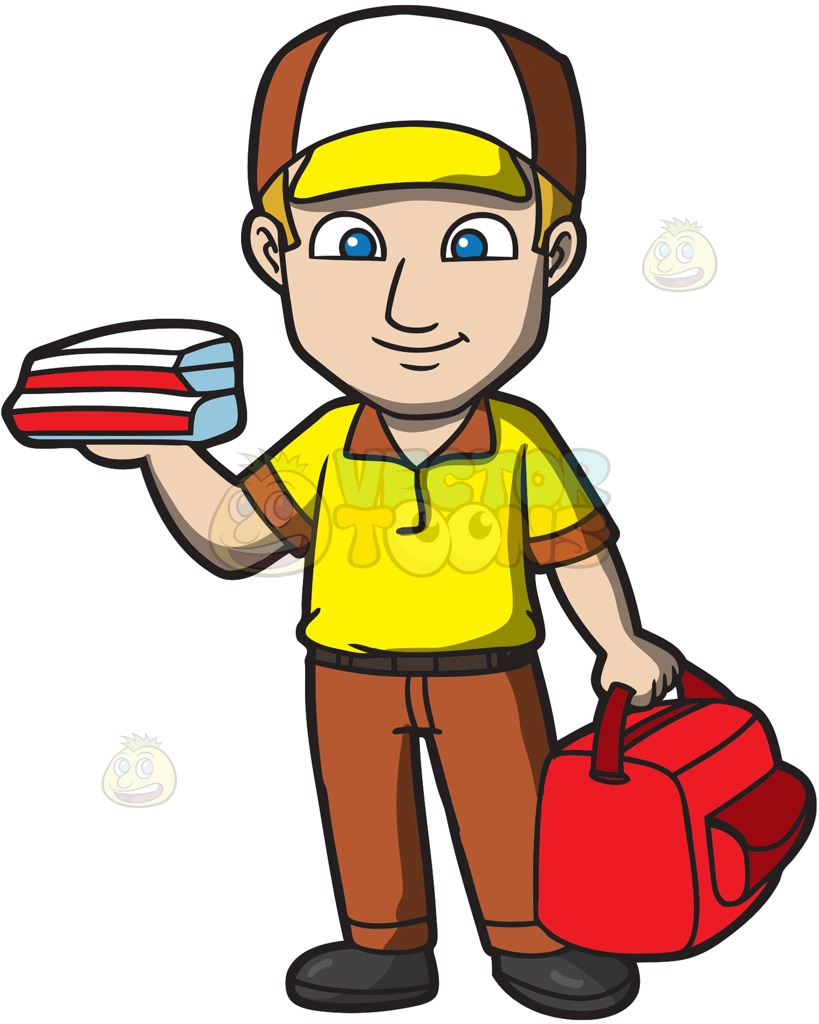 819x1024 A Pizza Delivery Guy Cartoon Clipart