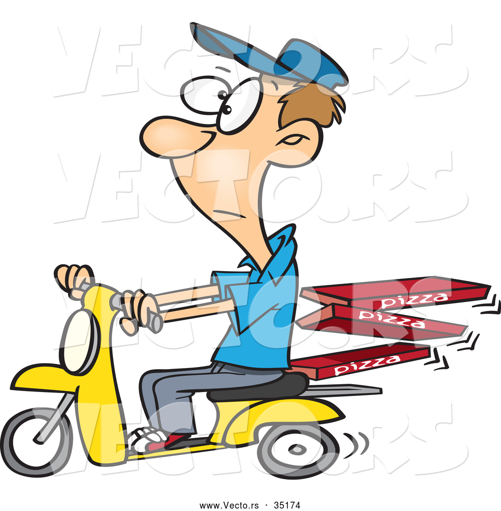 1024x1044 Vector Of A Bored Cartoon Man Delivering Fresh Pizza On A Scooter
