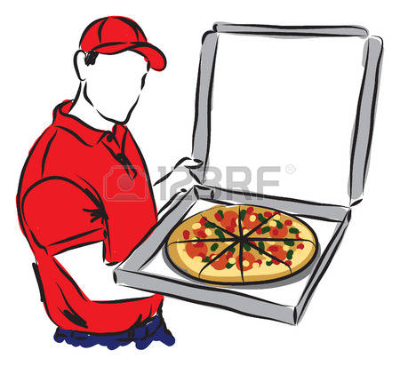 450x412 Pizza Delivery Man Clipart