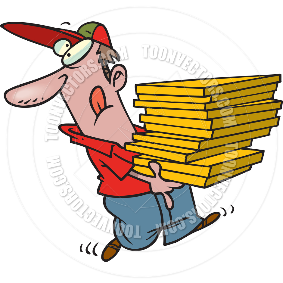 940x940 Cartoon Pizza Delivery Man By Ron Leishman Toon Vectors Eps