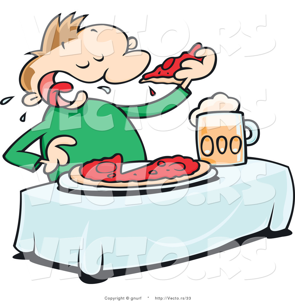 1024x1044 Cartoon Vector Of A Man Eating Pizza With Beer
