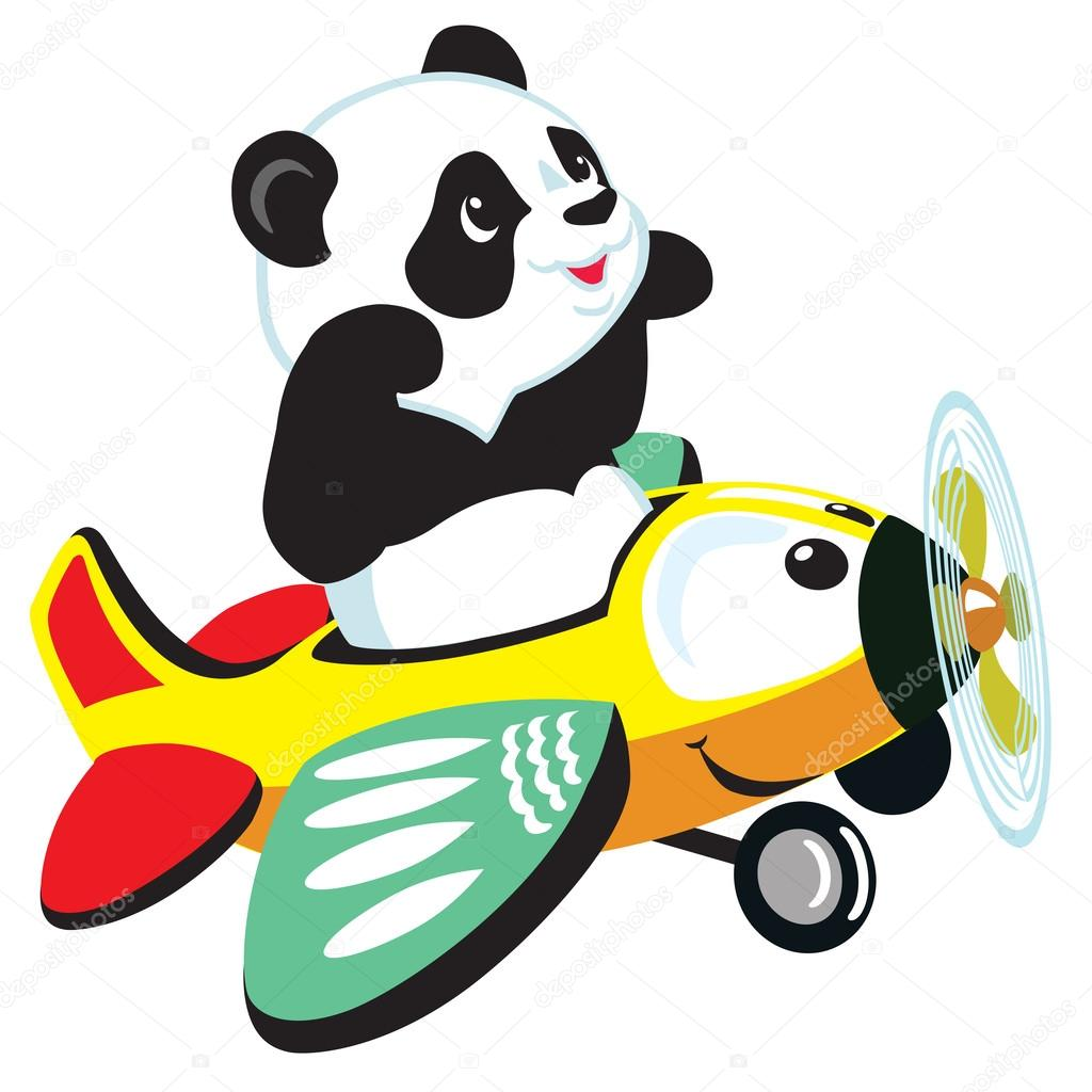 1024x1024 Cartoon Panda Flying With Plane Stock Vector Insima