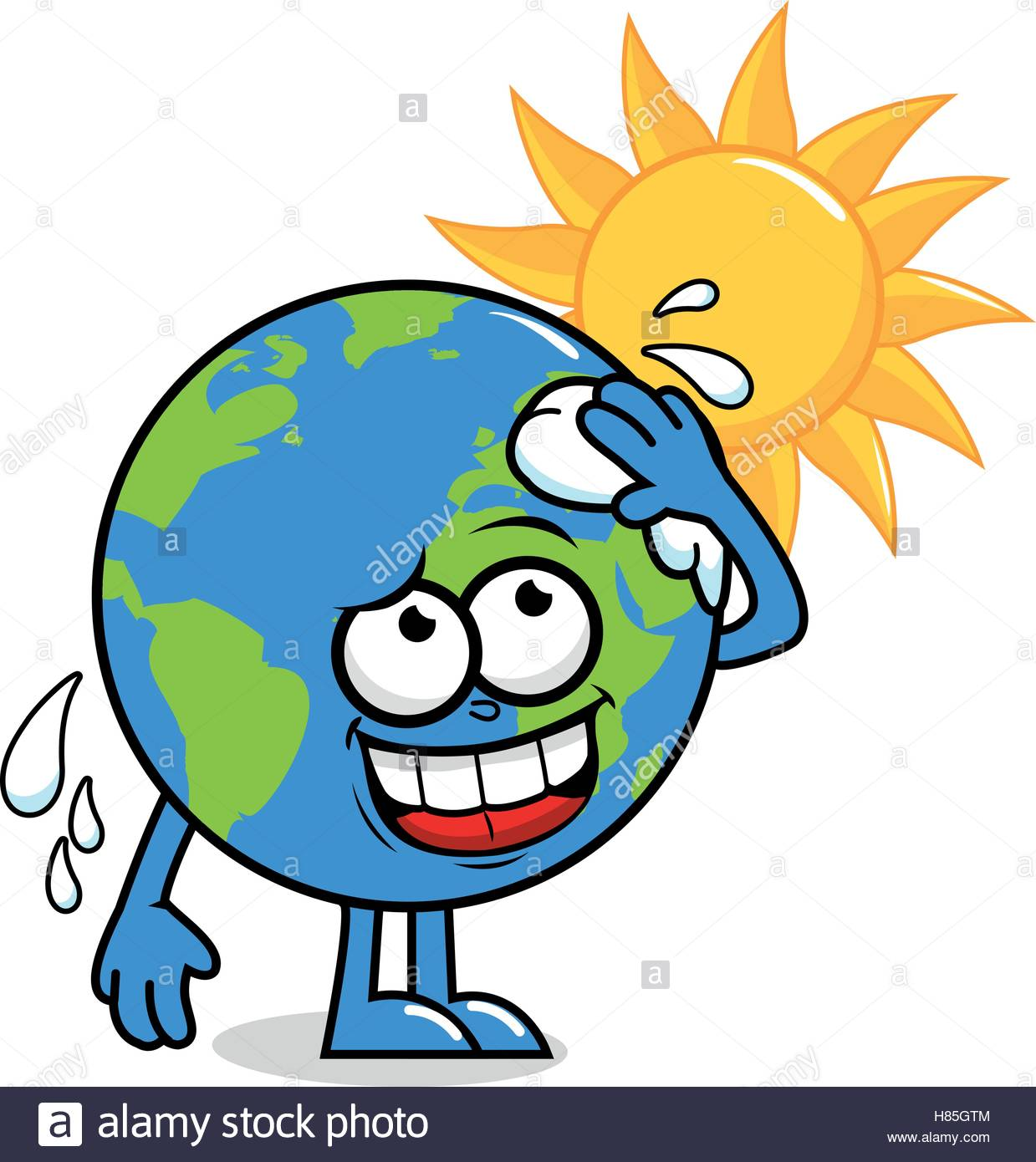 1239x1390 Cartoon Planet Earth Character In Front Of A Burning Sun Wiping