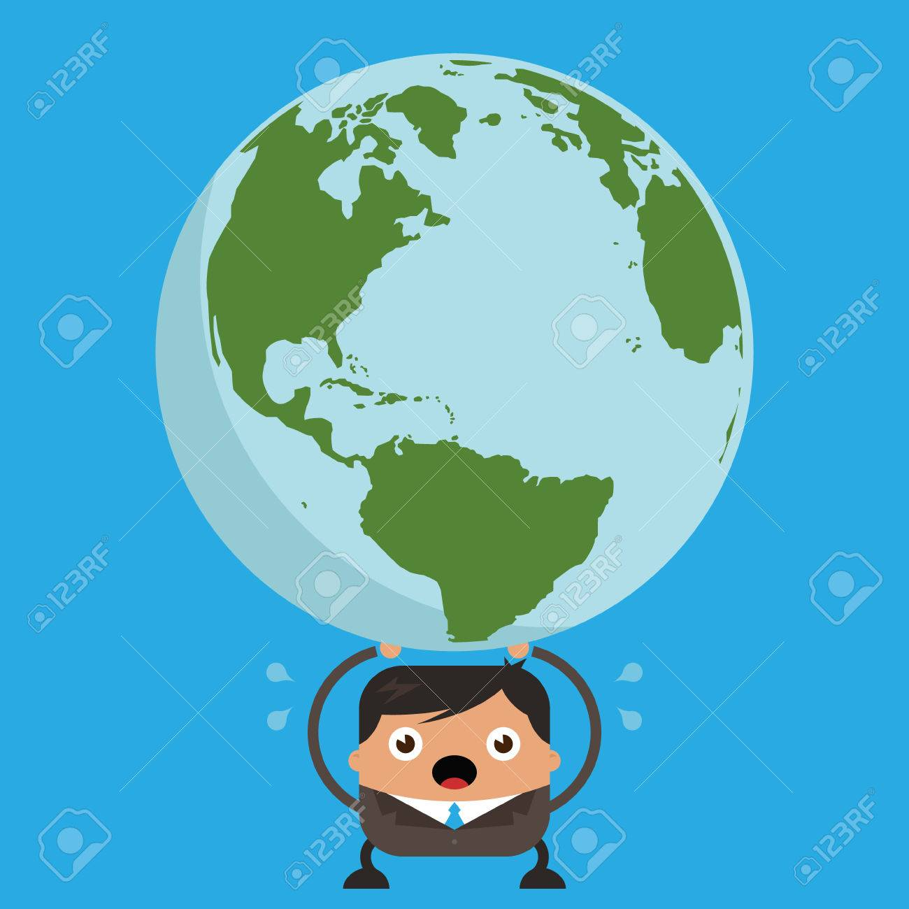 1300x1300 Illustration Of Stressed Business Man Cartoon Holding The Planet