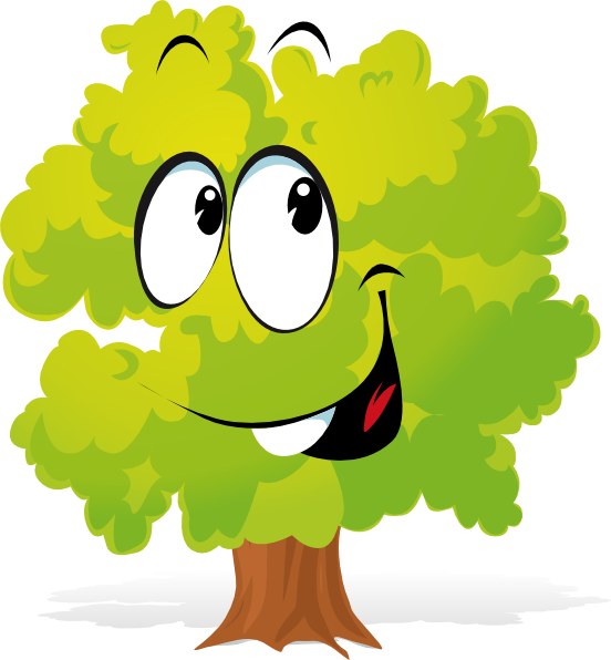 552x596 Happy Cartoon Tree Clip Art