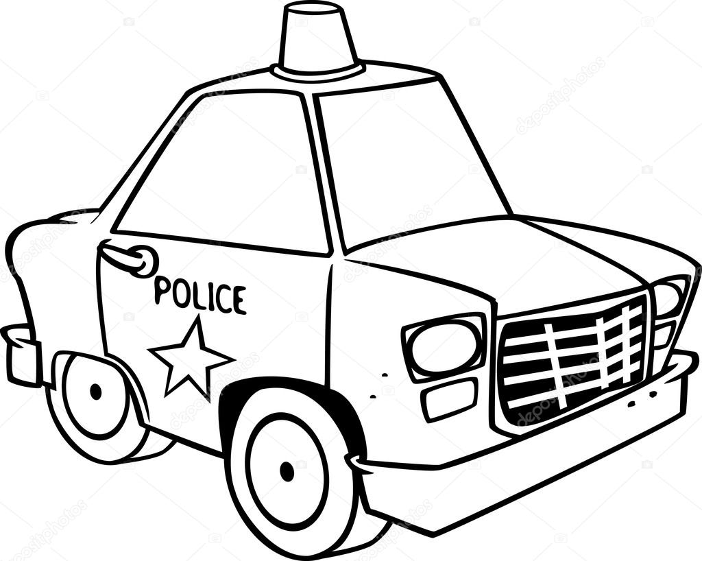 1024x818 Cartoon Police Car (Black And White Line Art) By Ron Leishman
