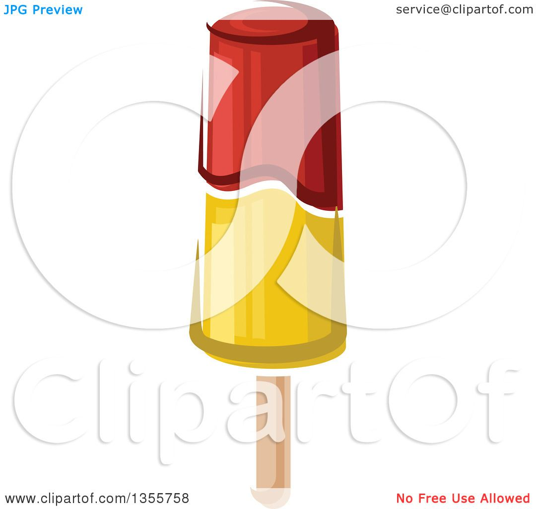 1080x1024 Clipart Of A Cartoon Red And Yellow Popsicle